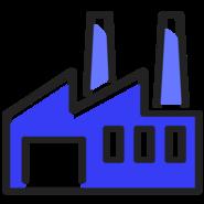 usine bleu sombre